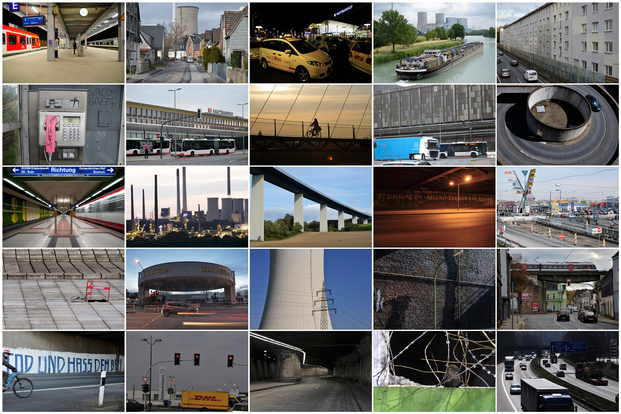 Zdjęcie nr 711 Kanał Datteln-Hamm, Hamm, 2018 r. Zdjęcie nr 712 Metro, Gelsenkirchen, 2010 r. Zdjęcie nr 713 A40, Essen, 2021 r. Zdjęcie nr 714 Postój taksówek, dworzec główny w Bochum, 2010 r. Zdjęcie nr 715 Była linia kolejowa, Bochum, 2009 r. Zdjęcie nr 716 A40, Bochum, 2009 r. Zdjęcie nr 717 Kolej miejska, Bochum-Wattenscheid Zdjęcie nr 718 Wiadukt ceglany, Herne-Baukau, 2009 r. Zdjęcie nr 719 Kanał Datteln-Hamm i autostrada A2 Zdjęcie nr 720 Transport, Bochum Zdjęcie nr 721 Autostrada A40, Bochum-Wattenscheid Zdjęcie nr 722 Centrum handlowe, Bochum-Hofstede, 2009 r. Zdjęcie nr 723 A40, Essen, 2020 r. Zdjęcie nr 724 Parking, Marl, 2009 r. Zdjęcie nr 725 Dworzec autobusów dalekobieżnych, Dortmund Zdjęcie nr 726 Autostrada, most nad Ruhrą koło Mühlheim, 2020 r. Zdjęcie nr 727 Elektrownia, Herne-Baukau, 2009 r. Zdjęcie nr 728 Lotnisko, Dortmund, 2010 Zdjęcie nr 729 Autostrada A40, Oberhausen Zdjęcie nr 730 Stacja benzynowa, Essen, 2019 r. Zdjęcie nr 731 Składowisko złomu przy linii kolejowej, Bochum, maj 2010 r. Zdjęcie nr 732 Uniwersytet w Bochum, 2009 r. Zdjęcie nr 734 Dworzec Główny, Bochum, 2019 r. Zdjęcie nr 735 Lotnisko Dortmund Zdjęcie nr 736 Ptak, Bochum, 2009 r. Zdjęcie nr 736b Most A43, Recklinghausen, listopad 2020 r. Zdjęcie nr 736c Most A43, Recklinghausen, grudzień 2020 r.